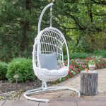 Outdoor Belham Living Bali Resin Wicker Hanging Egg Chair with Cushion and Stand White