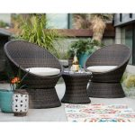 Outdoor Coral Coast Laynee All Weather Wicker 3 Piece Patio Swivel Chairs and Side Table Set