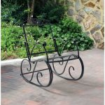 Outdoor Rocking Chair Porch Wrought Iron Mesh Seat and Back Lawn Patio Furniture for sale online   eBay