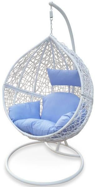 Outdoor White Hanging Ball Chair – 4 Cushion Colours