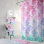 Pastel  Mermaid Scales Shower Curtain, Bath Towel, Bath Mat, Window Curtain