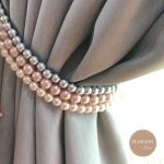 Pink and Grey / Pink and Gold Curtain Tie Backs / Shabby Chic Decor Tieback / Blush Pink Decor / Rose Gold Curtain Holdback / FREE SHIPPING