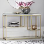 Pippard Console Table with Mirrored Top, Champagne   Costco UK