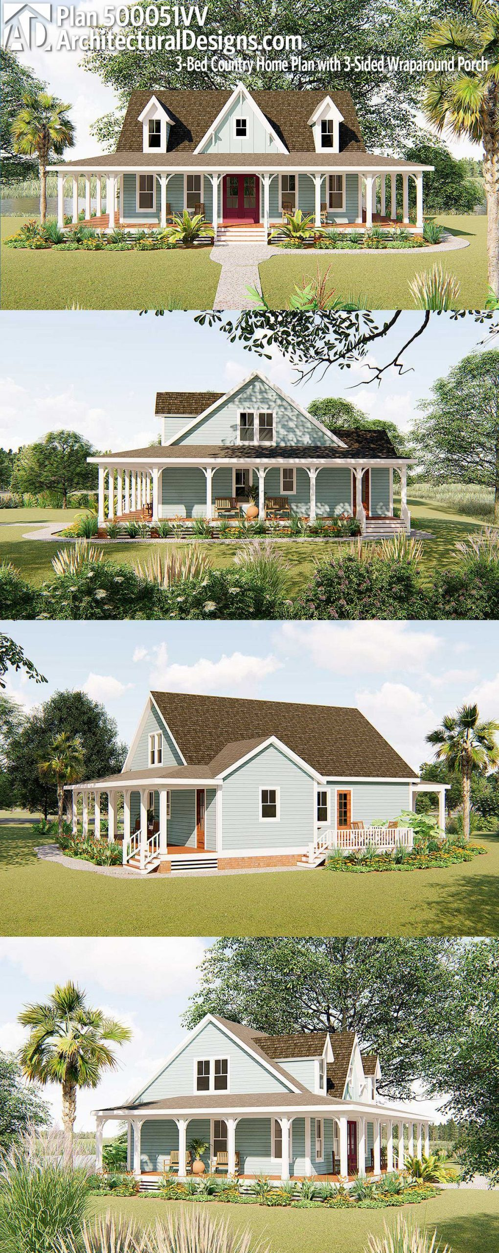Plan 500051VV: 3-Bed Country Home Plan with 3-Sided Wraparound Porch