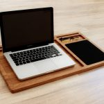 Portable laptop desk Oak wood lap tray with tablet & phone slots Mobile workstation Macbook stand Student lapdesk Wooden laptop stand Gift
