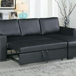 Poundex F6890 2 pc Latitude Run Venters black faux leather sectional sofa set pull out sleep area