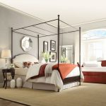 Queen Metal Canopy Bed with White Cream Linen Upholstered Headboard