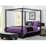 Queen size Modern Canopy Bed in Sturdy Grey Metal Q280-DCB6984422