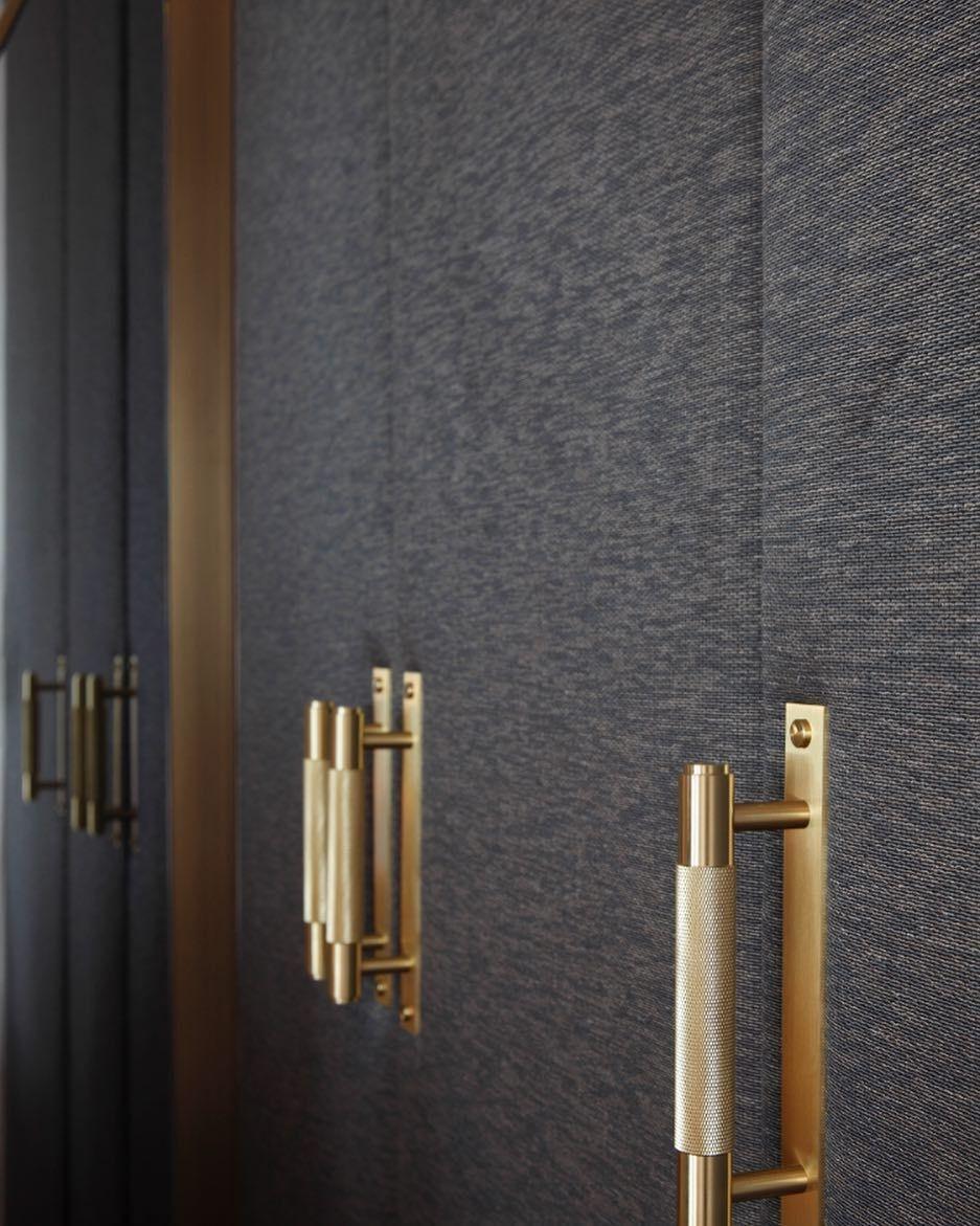"RACHEL WINHAM on Instagram: ""Bespoke wardrobe detail ✨ these brass pull bar handles pair perfectly with this gorgeous @lelievreparis fabric! #bespoke #wardrobes #fabric…"""