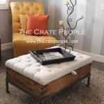 Raisin Sweat Box Tufted Ottoman - Vintage Wood Crate with Storage and European Grain Sack Fabric - Custom Made Furniture