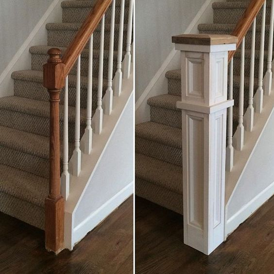 """Rebuild Fabrication Co. on Instagram: """"Before and almost after of the stair railing work. The newel post cap is part of the white oak I milled a few months back from a tree at…"""""""