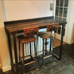 Reclaimed Industrial 4 Seater Chic Tall Poseur Desk / Dining Table - Bar Cafe Restaurant Steel Solid Wood Metal Hand Made Bespoke 428