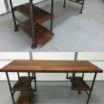 """Reclaimed Wood Desk Table - Rustic Solid Oak W/28"""" Black Iron Pipe legs."""