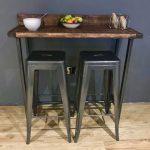 Reclaimed wood Breakfast Bar Table and 2 Stools Set / Industrial Chic Steel Legs  | eBay