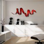 Red Metal Wall Art, Indoor Outdoor Art, Abstract Wall Sculpture Modern Office Decor Wall Hanging - Cardinal Twist by Jon Allen