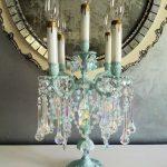 Reserved for Sheryl - Antique Brass and Crystal Candelabra, Ocean Blue Aqua Table Chandelier, Vintage Lighting, Aqua Crystal Lamp