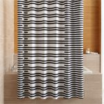 Rhesi Black and White Stripe Shower Curtain + Reviews | Crate and Barrel