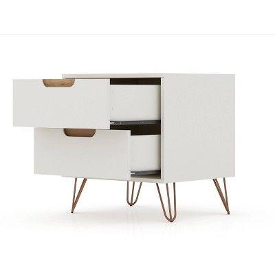 Rockefeller Dresser and Nightstand Set Off White/Natural – Manhattan Comfort
