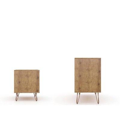Rockefeller Dresser and Nightstand Set Pink – Manhattan Comfort