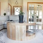 Round Coffee Table with Storage, Wood Coffee Table, Handcrafted, Reclaimed Wood Coffee Table with Cutout, Made to Order