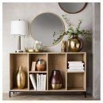 Round Decorative Wall Mirror Wood Barrel Frame - Threshold , Brown