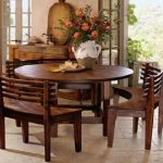 Round Dining Room Table Sets with Benches - http://quickhomedesign.com/ circle dining table set - Home Decor Ideas