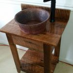 Rustic Barn Wood Mini Vanity with Hammered Copper Vessel Sink and Oil Rubbed Bronze Faucet
