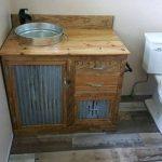 """Rustic Bathroom Vanity (60"""") - Dual Sink - Reclaimed Barn Wood Vanity w/Barn Tin   #9324"""