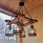 Rustic Light Fixture - Hanging Light - Rustic Lighting - Industrial Pendant Light - Wood Chandelier - Rustic Light - Farmhouse Light -Dining