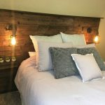 Rustic Queen headboard with lights and shelves made out of reclaimed cedar from ...