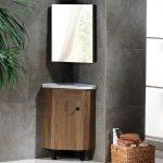 Rustic Wall Hung / Freestanding Corner Bathroom Vanity Single Sink Small Vanity Cabinet with Corner Medicine Cabinet & Mirror 1-Door