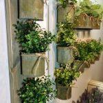 Rustic wall decor, Zinc metal planters, Wall grouping, Rustic home decor, Farmhouse living room, Wall planter, Wall faux herb planter, green