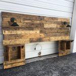 Rustic wooden headboard, distressed, headboard, recovery, cabinets, USB sockets, lights, Barnwood, modern headboard