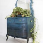 SOLD SOLD Blue Bohemian Ombre Vintage Antique Dresser - Chest of Drawers Vanity with Mirror Modern Boho Farmhouse Coastal Painted Dresser