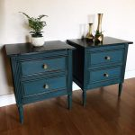 SOLD- Set of Nightstands endtables - Solid wood dressers distressed indigo blue color boho bohemian chic - San Francisco Bay