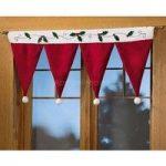 Santa Claus Hats Window Valance Christmas Decorations Xmas Curtain Decor Ornaments Red   Wish