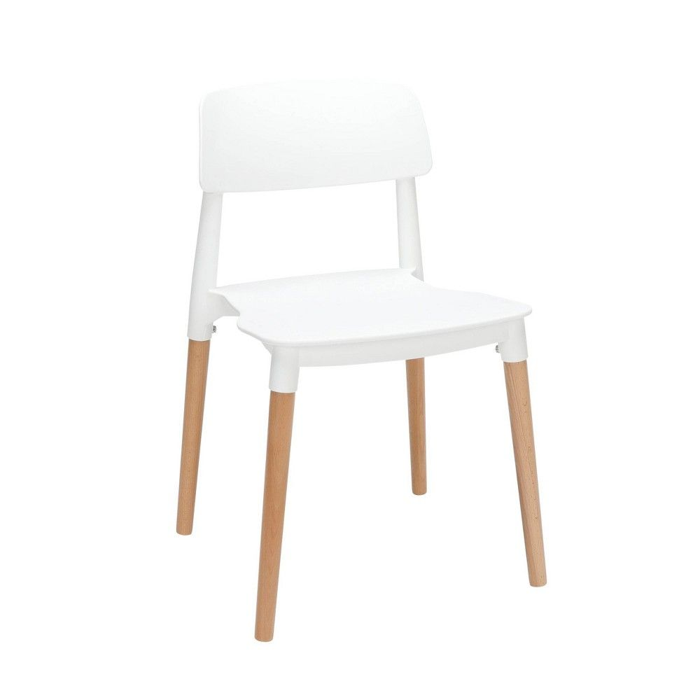 Set of 4 18″ Mid-Century Modern Plastic Molded Dining Chairs with Solid Natural Wood Legs White – OFM