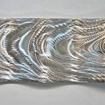 Silver Metal Wall Art, Indoor Outdoor Art, Abstract Water Inspired 3D Wall Sculpture Office Decor, Wall Hanging-  Ripple Wave by Jon Allen