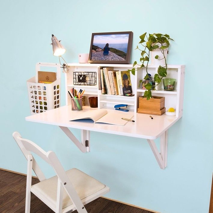 SoBuy Folding Wall-mounted Drop-leaf Table Desk with Storage Shelves, FWT07-W,UK