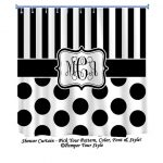 Stripe and Polka Dot Custom Shower Curtain -  Custom Decor - Black and White Shower Curtain - Monogrammed Curtain - Personalized Curtain