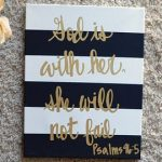 Striped Bible Verse Quote Canvas Painting Canvas Wall Hanging Gold Sign Wall Art Wall Decor Custom Quote Art Striped Quote Canvas Painting