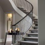 Stunning white stairway with carpet runner, iron railing, wood flooring   Bayvie… - pickndecor.com/design