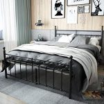 TEMMER Reinforced Metal Bed Frame Queen Size with Headboard and Stable Metal Slats Boxspring ...