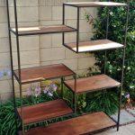 Tall Mid Century Modern Metal Modular Bookshelf with floating shelves, shelving ...