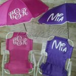 Toddler Baby Childrens Beach Chair and Umbrella Monogrammed Personalized PINK BLUE PURPLE