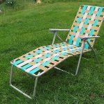 Vintage Folding Lounge Lawn Chair Aluminum Webbing Patio Webbed  Mid Century