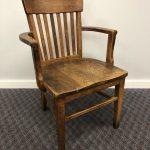 Vintage WOOD OFFICE CHAIR banker desk courthouse gunlocke lawyer antique arm mission oak wooden slat slatback living room sikes milwaukee 2