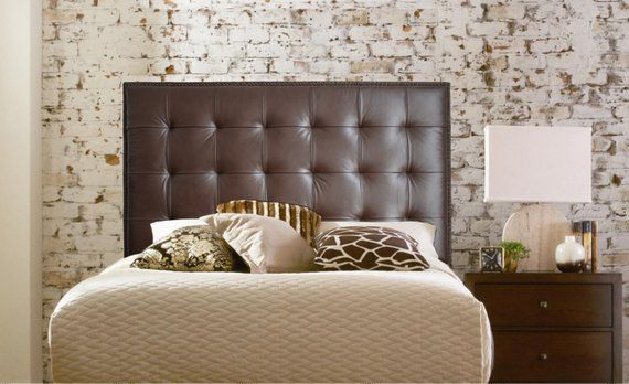 Wall Mounted King size Extra-Tall Headboard, Upholstered in Chocolate Genuine Leather with Nail Head Trim