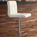 White Adjustable Height Swivel Bar Stool - Bellatier