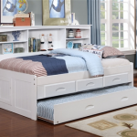White Twin Size Bookcase Captain's Day Bed with Trundle 0222   Day Beds   Discovery World Furniture